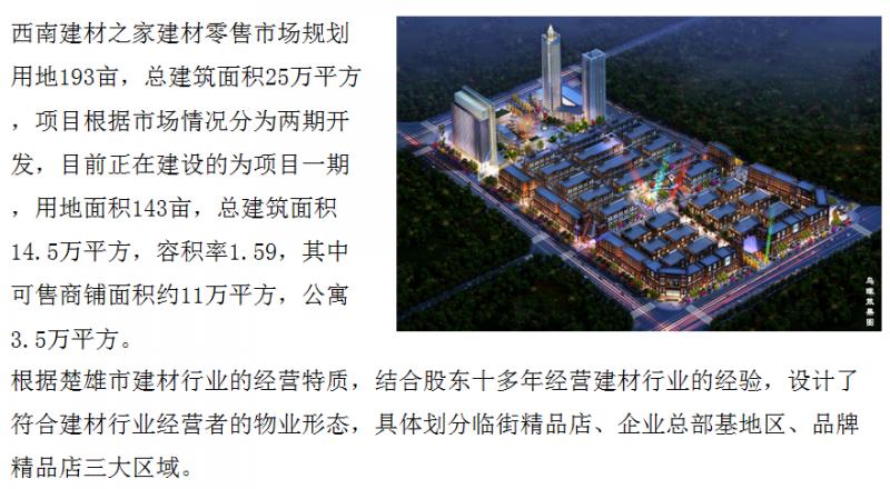 云南某建材零售批发物流中心融资1亿[项目编号:XM749]